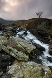 Mountain cascade at Cwm Idwal in the Glyderau range of mountains in Snowdonia National Park North Wales
