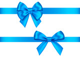 Blue  gift bows set  for  Christmas, New Year decoration. - 238709149