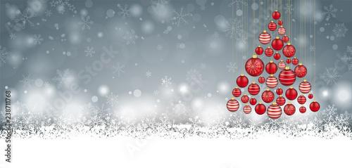 fototapeta na ścianę Christmas Red Baubles Tree Gray Header