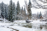 frozen mountain river in spruce snowy forest, fence and arbor on the bank