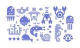 Marine life blue icons set, cute sea creatures, underwater world vector Illustration