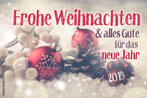 Leinwanddruck Bild Christmas and New Year Greeting Card Winter 2018 - 2019