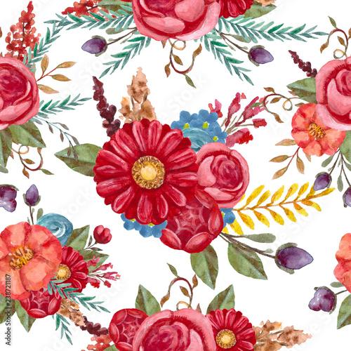 Watercolor floral pattern. Pattern with flowers. Retro,vintage bouquet.