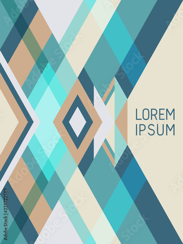 Cover page layout vector template geometric design with triangles and stripes pattern.