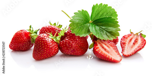 Berry strawberry with green leaf Fruity still life, isolated