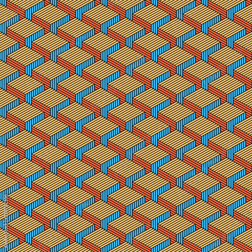 Seamless pattern with 3-D effect cubes in perspective. Retro vintage abstract background. Design graphic element saved as a vector illustration