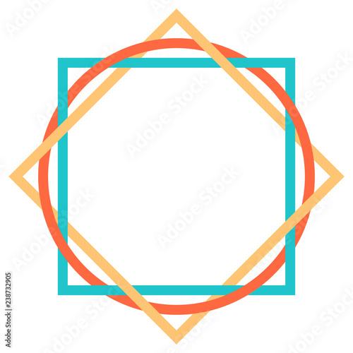 Abstract geometric element created using square and round shapes. Graphic element saved as a vector illustration for design