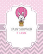 baby girl shower card. rabbit flying in a balloon. Space for text