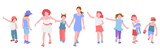 Children girls play, chat, walk, run, vector illustration in flat style. Set of illustrations of kids activity.