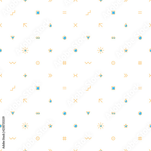 Seamless pattern with simple shapes created in flat thin style. Design graphic element saved as a vector illustration