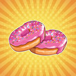 Donuts pop art cartoon