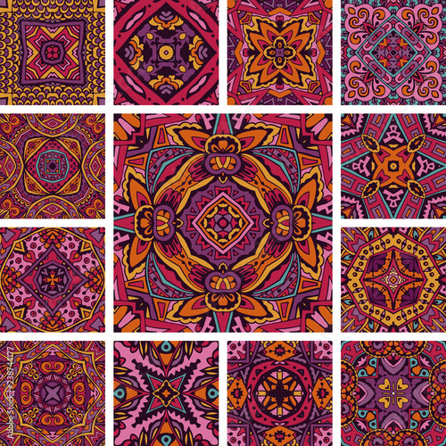 Tiled ethnic pattern for fabric psychedelic aztec boho set. Abstract geometric mosaic