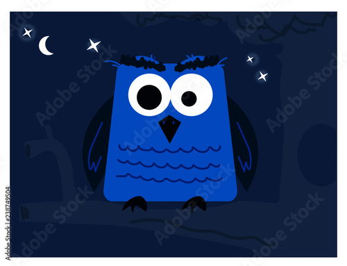 Owls vector blue night forest