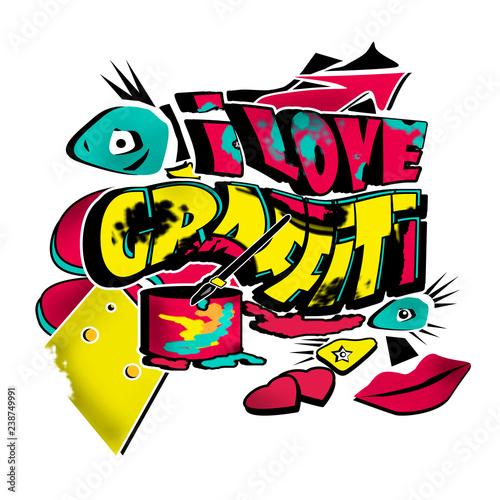 Funky urban graffiti modern illustration