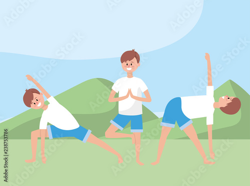 Fototapeta set man exercise yoga position