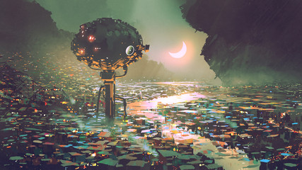 scenery of futuristic tower in dystopian city, digital art style, illustration painting