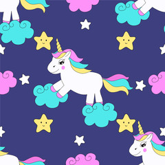 Seamless vector pattern with beautiful unicorns, clouds, stars. Magic fairytale background for kids design.