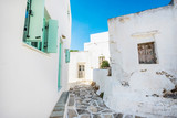 Old traditional white houses with turquoise windows in Lefkes village, Paros, Greece - 238782179