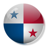 Panamanian flag glass button vector illustration