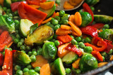Vegetarian food fried vegetables, brussels sprouts and carrots - 238792173