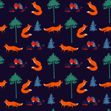 Forest seamless pattern with fox, bullfinch, pine and spruce
