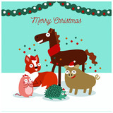 Merry christmas animals background © Ashraf