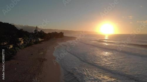 Ocean sunset aerial beach