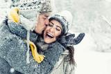 happy love couple in winter