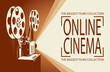 online cinema poster with retro film projector background