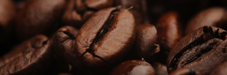 Fresh rosted coffee beans macro close up © stefan