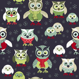 Hand drawn owls seamless Christmas pattern. Owls at night seamless background. Vector background for fabric, wallpaper, gift wrapping paper. Pajamas pattern. Print for kids, baby, children. © Julia