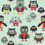 Hand drawn owls seamless Christmas pattern. Owls at night seamless background. Vector background for fabric, wallpaper, gift wrapping paper. Pajamas pattern. Print for kids, baby, children.