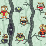 Owls in winter seamless pattern. Seamless Christmas pattern in Scandinavian style. Owls on a tree in a winter forest. Birds waiting for christmas. Vector background for fabric, textile, wallpaper © Julia
