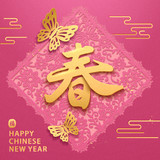 Spring calligraphy new year design - 238874936