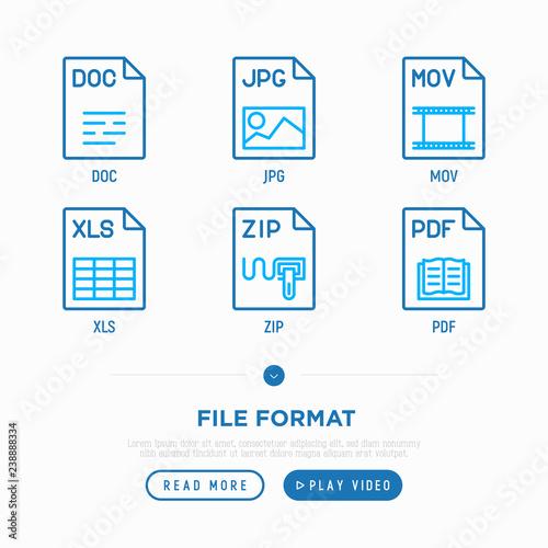File formats thin line icons set: doc, pdf, jpg, xls, mov, zip