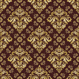 Classic seamless vector pattern. Damask orient brown and golden ornament. Classic vintage background. Orient ornament for fabric, wallpaper and packaging - 238891714