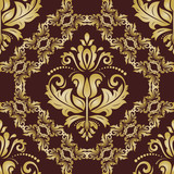 Classic seamless vector pattern. Damask orient brown and golden ornament. Classic vintage background. Orient ornament for fabric, wallpaper and packaging - 238891994