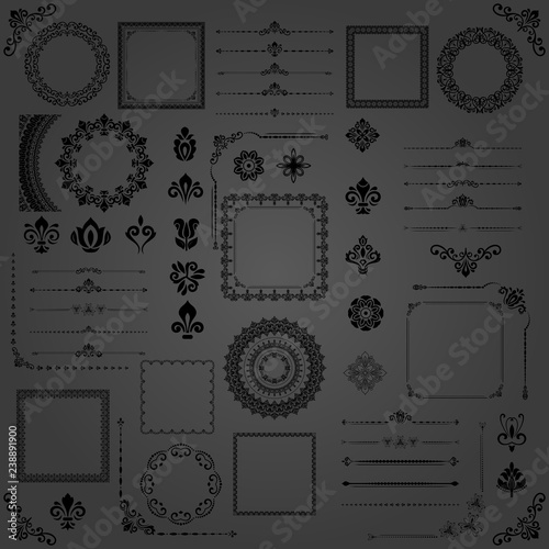 Vintage set of vector horizontal, square and round elements. Different elements for backgrounds, frames and monograms. Classic patterns. Set of vintage black patterns - 238891900