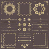 Vintage set of vector horizontal, square and round golden elements. Different elements for backgrounds, frames and monograms. Classic patterns. Set of vintage patterns - 238892190