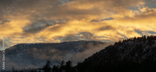 Sunset over the San Francisco Peaks mountain range in Flagstaff, Arizona, a popular ski, camp and hike location