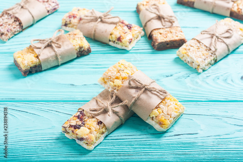 Healthy homemade snacks breakfast . Granola bars