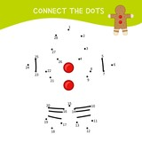 Educational game for kids. Dot to dot game for children. Cartoon gingerbread.