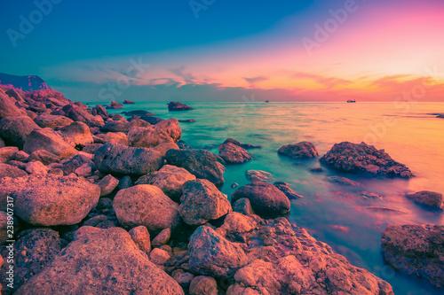Beautiful sea landscape. Sunset seascape
