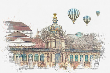 A watercolor sketch or illustration. Zwinger in Dresden in Germany. Hot air balloons are flying in the sky.