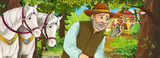 Cartoon nature scene with beautiful castle near the forest with beautiful man and horses - illustration for the children