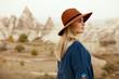 Fall Fashion. Beautiful Woman In Hat, Dress In Nature Portrait