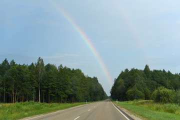 Road, forest, rainbow