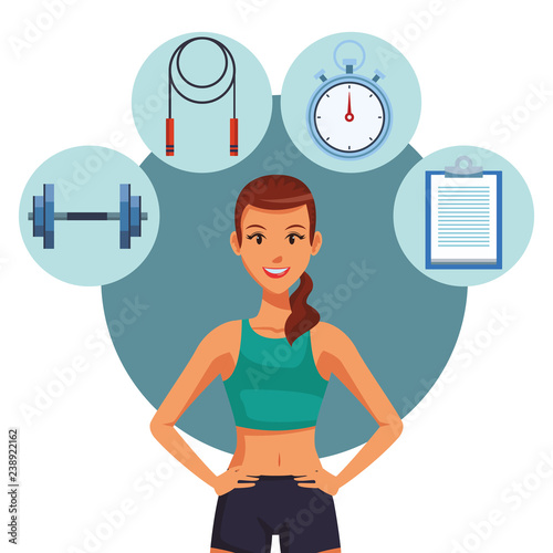 Fitness woman cartoon - 238922162