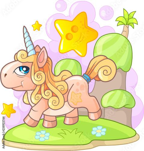 cartoon small cute pony unicorn, funny illustration