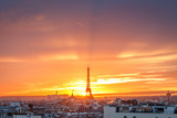 aerial view from the heights on paris and the eiffel tower at sunset